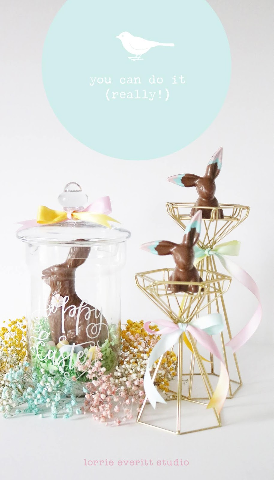 diy watercolour ribbon tutorial and Easter inspiration | Lorrie Everitt Studio