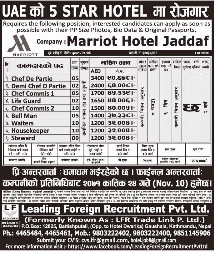 Vacancy in 5 Star Hotel, UAE