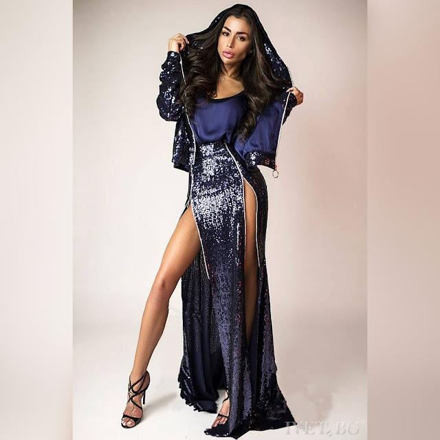 Γυναικείο σκούρο μπλε σύνολο ELECTRA - Τοπ, φούστα και μπουφάν