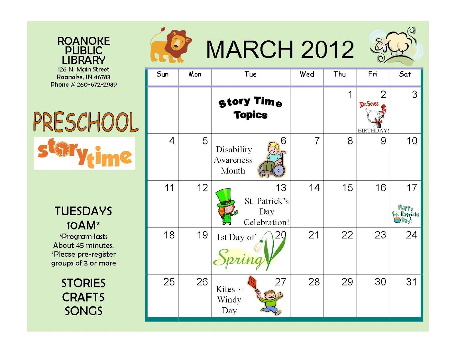 Roanoke Public Library March Preschool Story Time Calendar