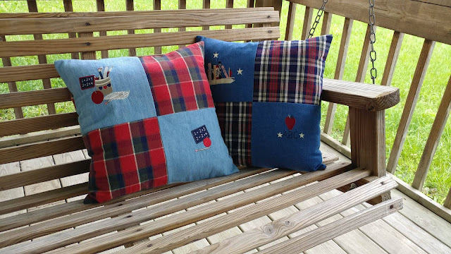 Simple pillows for a teacher from old jumper dress