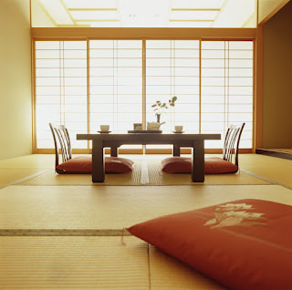 astounding japanese dining room interiors with sliding doors and red cushions