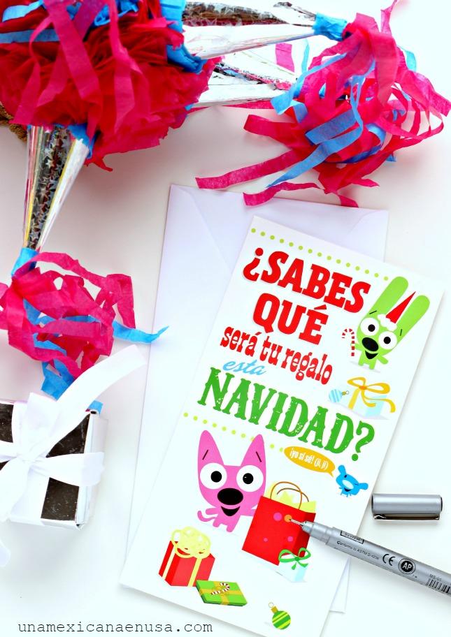 Tarjeta divertida Hallmark de Navidad en Español con alegres colores by www.unamexicanaenusa.com