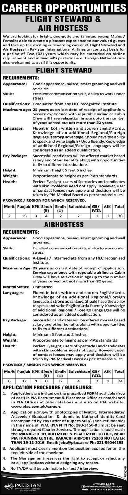 Air Hostess & Flight Steward PIA Karachi Jobs