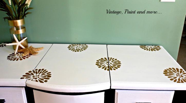 Vintage, Paint and more... vanity made for a teen girl with gold stenciled flowers and paint