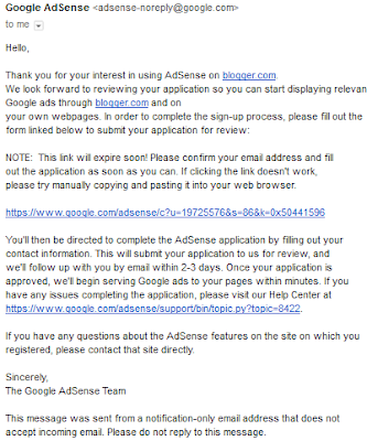 Google AdSense email notify about application review process