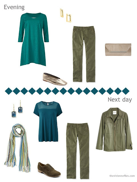 two outfits from a travel capsule wardrobe in olive and teal