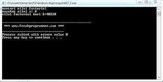Beberapa Contoh Program Faktorial Pada C++/ C