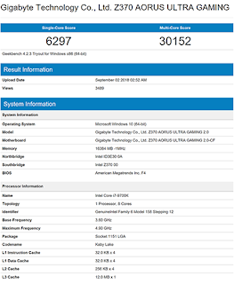 skor Intel Core i7-9700K di Geekbench