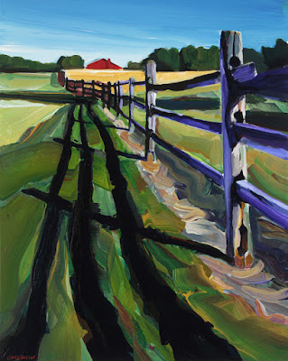 An acrylic painting of a red barn at knox farms in east aurora ny
