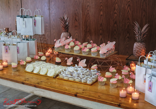 Pink flamingo cup cakes and goodie bags - Havana Days pool party Launch Event - Photographed by Kent Johnson for Street Fashion Sydney