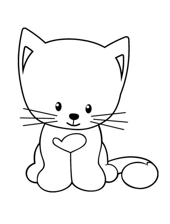 Tranh tô màu con mèo xinh