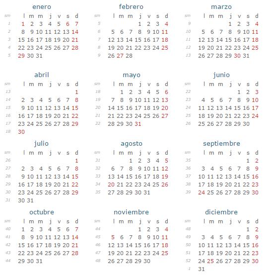 Calendario 2018 Republica Dominicana