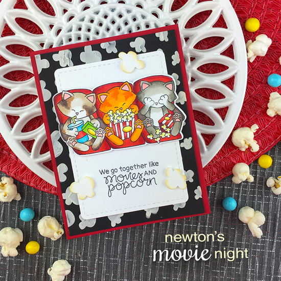 Cat and Movie card by Jennifer Jackson | Newton's Movie Night Stamp Set and Popcorn Stencil by Newton's Nook Designs #newtonsnook #handmade