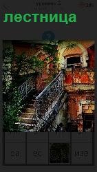 изящная лестница в дом с перилами ажурными и растениями вокруг