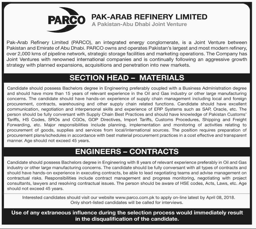 Jobs in March 2018 in Pakistan, Jobs in Pakistan, Latest Jobs in Pakistan, Oil and Gas Jobs in Pakistan, Oil&Gas Jobs 2018, Jobs for Engineers in Oil and Gas Sector