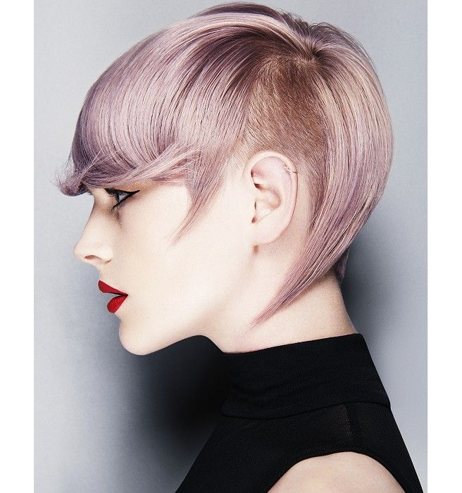Pink short hair with shaved side and bangs