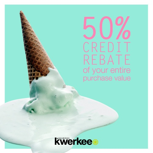 50% of your entire purchase value in kwerkee credits