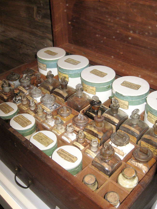 a mahogany chest with 48 medical containers to treat disease during the civil war