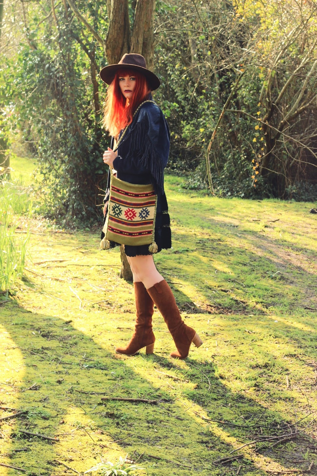 Blue Suede Vintage Fringed Jacket & 70's Inspired Outfit