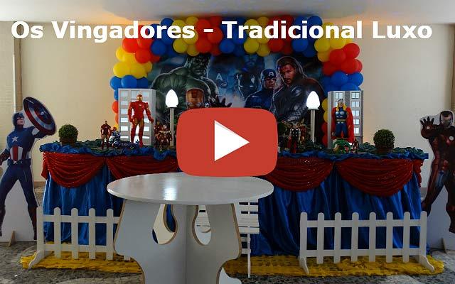 Vídeo decoração Os Vingadores tradicional luxo