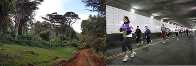 Split photo with left image showing a Kenyan countryside and right image showing runners in the Detroit Free Press Marathon