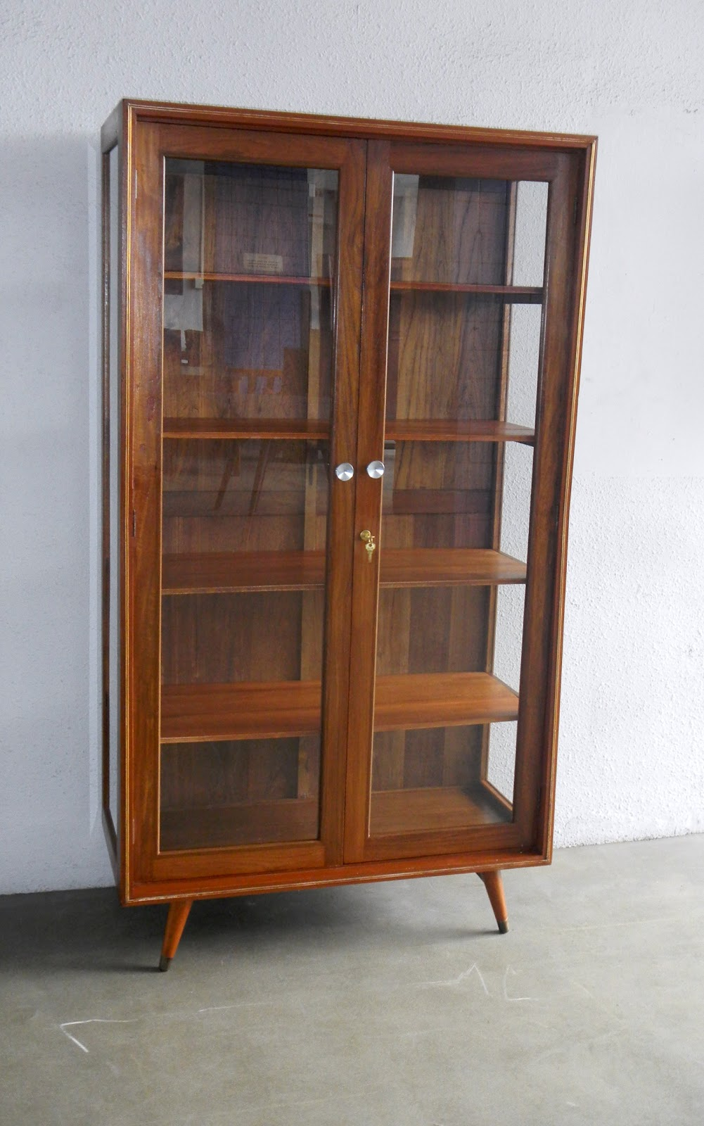 b1b5ecfaba0c Vintage 1960 s teak glass book cabinet. Angled at the top