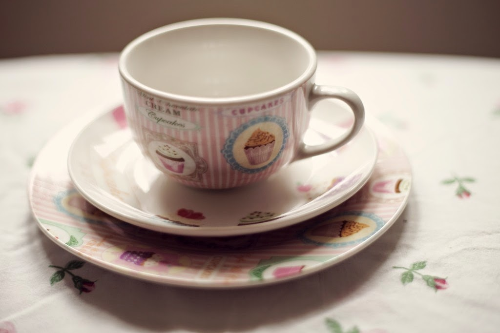 cupcake design teacup, saucer and side plate from Dunelm