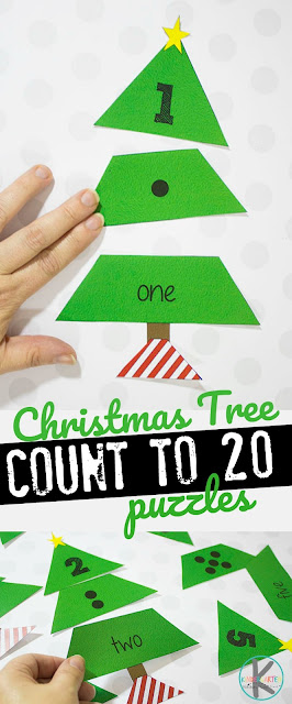 Help children work on number sense with number 1-20 with these super cute free Christmas puzzles. Simply download pdf file with Christmas Math Printable. Now put together the Math Christmas Tree by including the numeral, counting dots, and number word to help preschool, pre-k, kindergarten, and first grade students count to 20. Christmas Math is FUN!