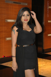 Telugu Actress Model Madhulagna Das Latest Spicy Stills in Black Short Dress  0005.JPG