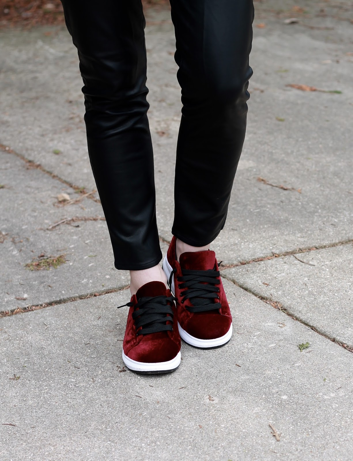 leather pants, burgundy velvet shoes