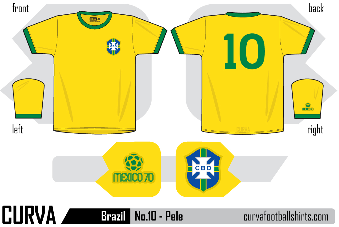 Brazil 1970 - No.10 Pele. This shirt is available to purchase for £38.00  ref curva023. A yellow and green 100% cotton Ringer T-shirt in small 319769ef0