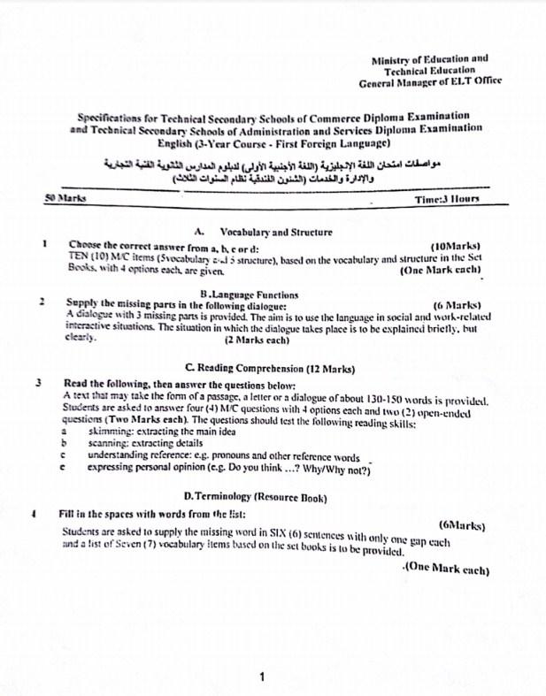 مواصفات الورقه الامتحانيه في ماده اللغه الانجليزيه للتعليم الفني 2019