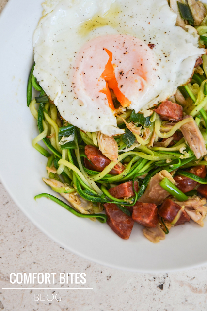 zucchini courgette noodles with chicken chorizo and fried egg paleo