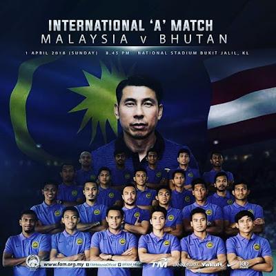 Malaysia Vs Bhutan (1 April 2018 ) - Live Streaming dan Keputusan Perlawanan
