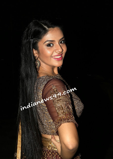 Sreemukhi Rathod in Net Lehenga Choli at Araku Roadlo Audio