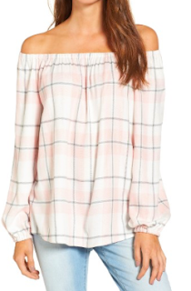 Two by Vince Camuto Off the Shoulder Plaid Blouse