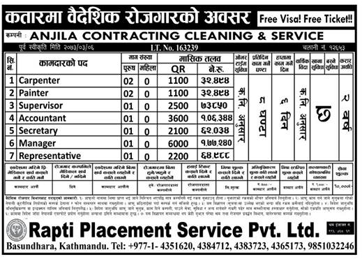 Free Visa, Free Ticket, Jobs in Qatar, Anjila Contracting Cleaning & Service for Nepali candidates, Salary Rs.1,06,000/