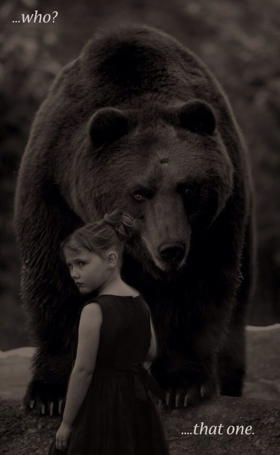 The Mama Bear, She cares, protects and ensures no harm will come to those she loves even if she's not there. She will tear off your head, rip off your limbs and hang your dumbass up  in a tree for all the world to see, just cause you looked at her cubs funny. #bear #relatable #femininity #mother #child #thoughts