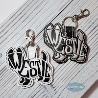 Westie Text Filled Snap Tab Key Fob, Purse Charm