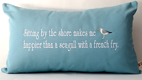 Happier than a Seagull Quote Pillow