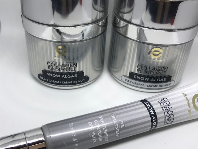 Close up of packaging of Elizabeth Grant creams in silver, white and grey