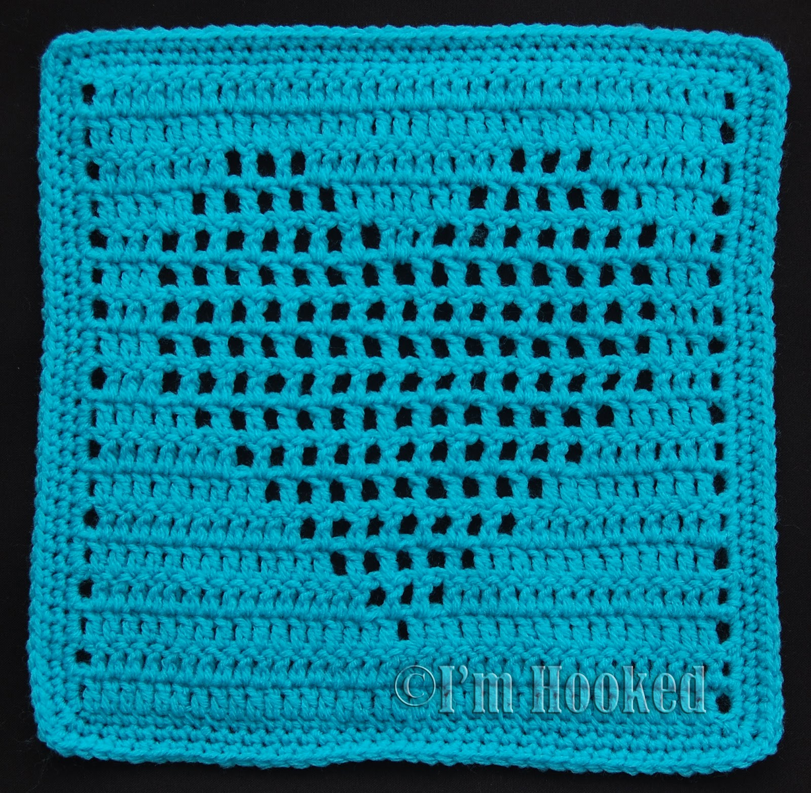 Free Crochet Pattern: Heart Filet Block 2