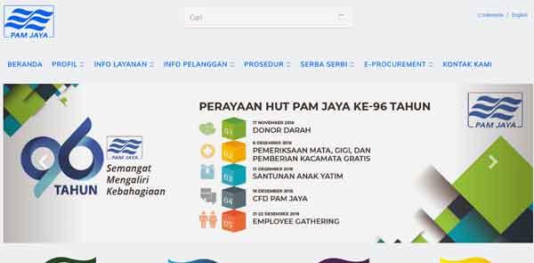 halaman website resmi pam jaya untuk informasi pdam air di jakarta dan sekitarnya