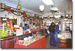 photo of Schimpffs candy store with shelves full of the assorted candy