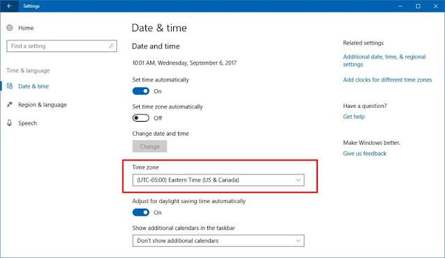 كيفية تعيين المنطقة الزمنية الصحيحة على ويندوز 10