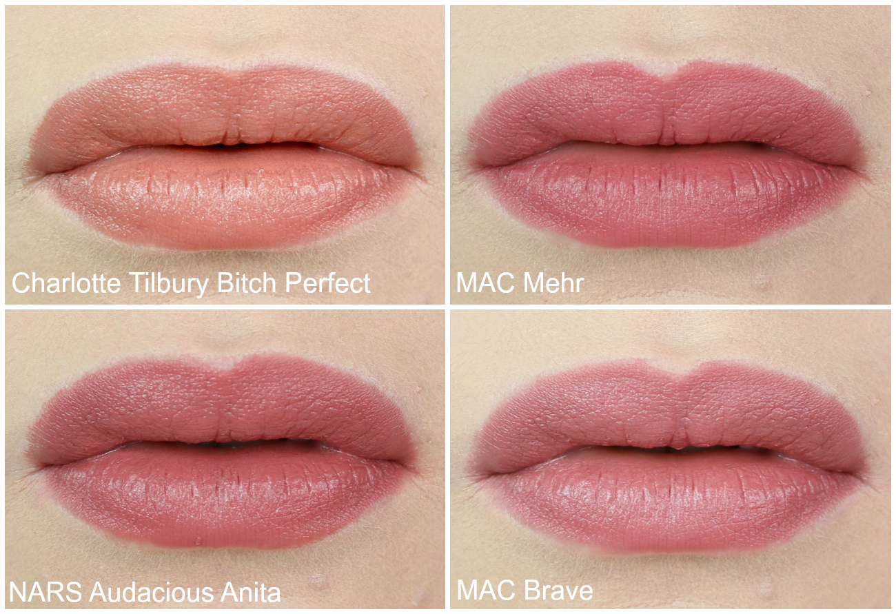 My Go To Lipsticks Right Now MAC Mehr, Charlotte Tilbury Bitch Perfect, MAC Brave and NARS Audacious Anita.