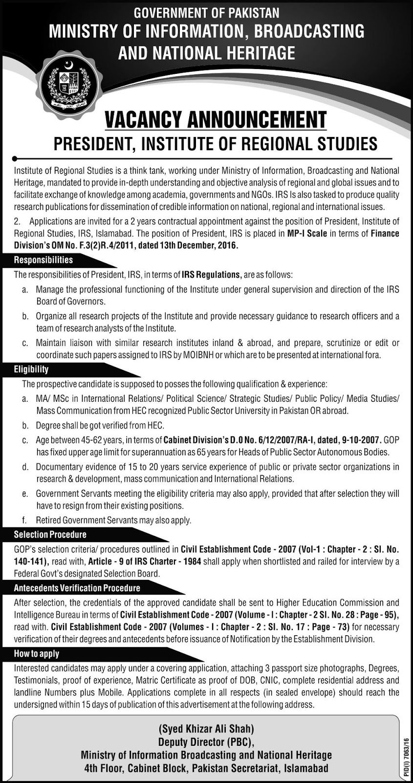 Jobs In Ministry Of Information Broadcasting & National Heritage Islamabad July 2017