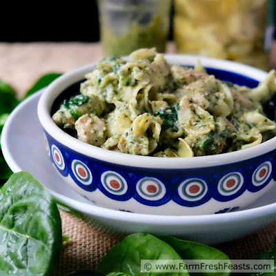 A simple & fast skillet supper with sautéed chicken breast, fresh spinach, prepared pesto and marinated artichoke hearts. Six ingredients, about 20 minutes, and you've got a tasty meal.