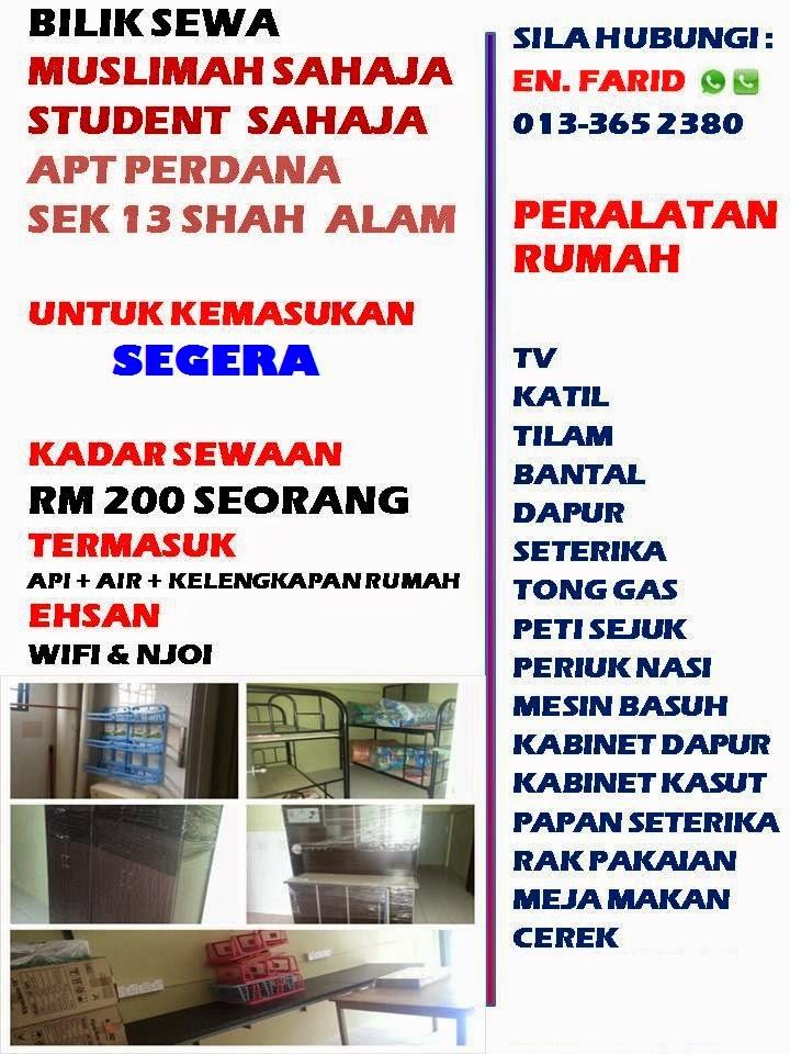 Bilik Sewa di Apartment Perdana Seksyen 13 Shah Alam